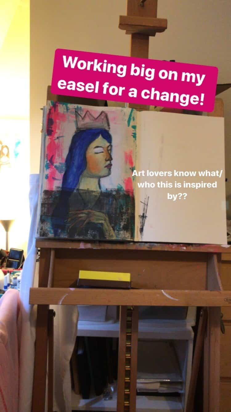 Mixed-Media-Painting-In-Progress-On-Easel