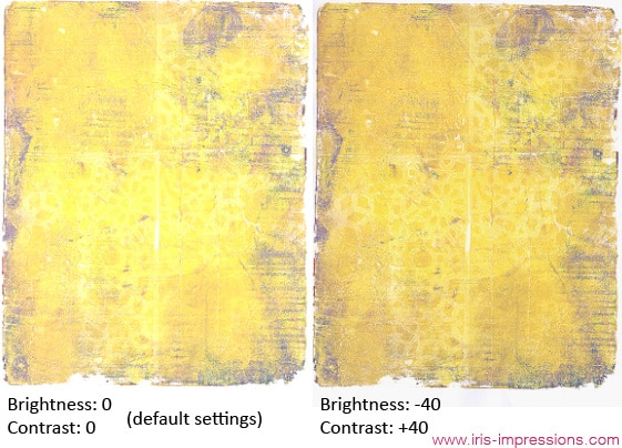 Default Scan Settings & Adjusted Scan Settings. © www.iris-impressions.com @rrreow #scanningart #scanningartwork