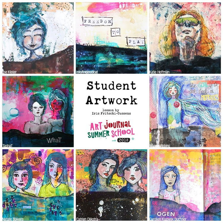 Collage with student work created on Art Journal Summer School 2018